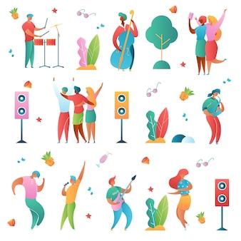 Personajes de dibujos animados de música conjunto aislado
