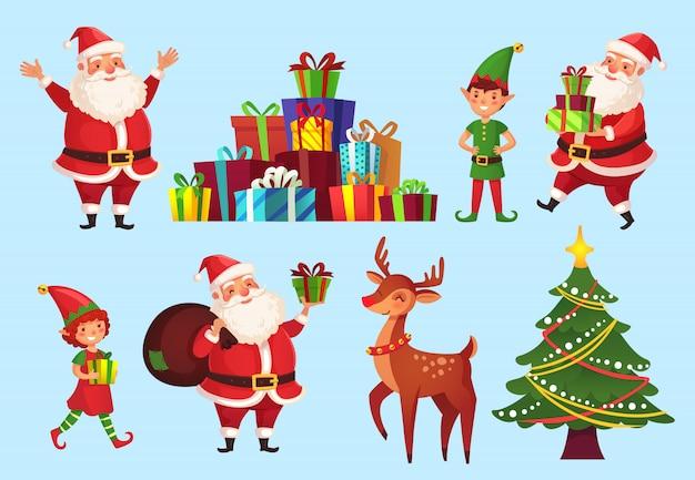 Personajes de dibujos animados de navidad. abeto con regalos de santa claus, elfos ayudantes de santa claus y ciervos de vacaciones de invierno