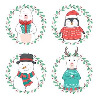 Personajes de dibujos animados de navidad o animal con círculo floral