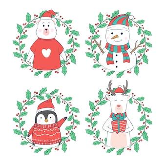 Personajes de dibujos animados de navidad o invierno con marco floral