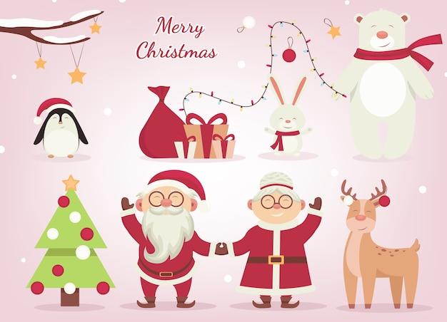 Personajes de dibujos animados de navidad
