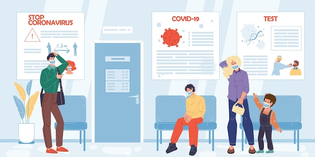 Personajes de dibujos animados paciente plano esperando médico