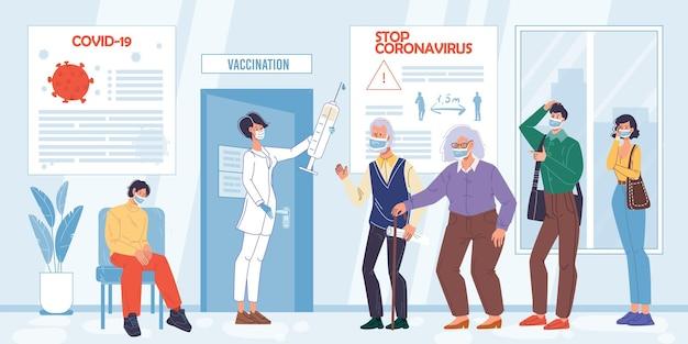 Personajes de dibujos animados de pacientes planos esperando la vacunación