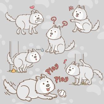 Personajes de dibujos animados de perro husky siberiano