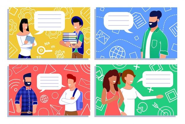 Personajes de dibujos animados personajes hablando y hablando conjunto