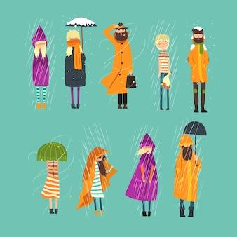 Personajes de dibujos animados de personas congeladas afuera. clima lluvioso y con nieve. niño triste con ramo de flores, hombre barbudo en gabardina, niña con paraguas en las manos. ilustración