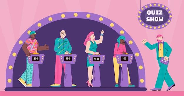 Personajes de dibujos animados de personas en el programa de juegos de preguntas
