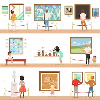 Personajes de dibujos animados personas visitantes en museo de arte. pinturas, colección de mariposas y esculturas en la galería. concepto de actividades culturales.