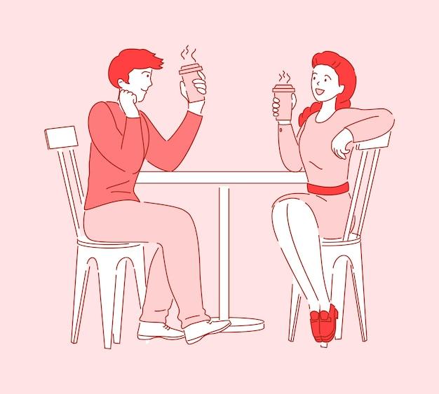 Personajes de dibujos animados plana personas hablando