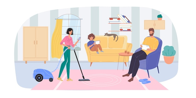 Personajes de dibujos animados planos navegando por internet en interiores en casa ilustración