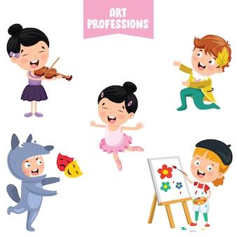 Personajes de dibujos animados de profesiones de arte