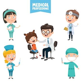 Personajes de dibujos animados de profesiones médicas