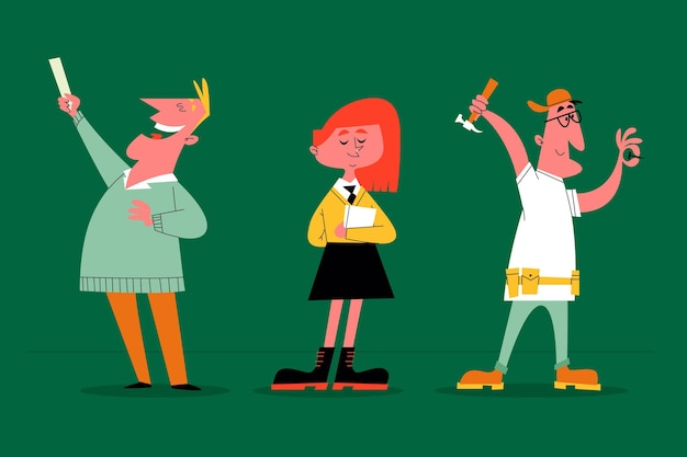 Personajes de dibujos animados retro dibujados a mano