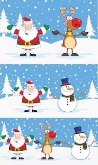 Personajes de dibujos animados de santa claus, renos y muñeco de nieve. colección con fondo