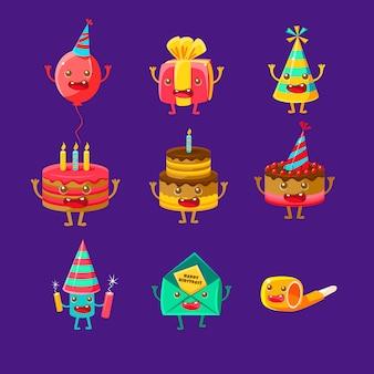 Personajes de dibujos animados de símbolos de fiesta de feliz cumpleaños y celebración, incluyendo pastel, sombrero, globo, fuegos artificiales de cuerno