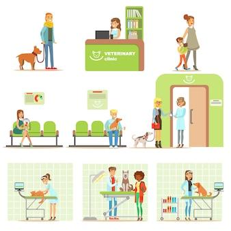 Personajes de dibujos animados sonrientes que traen a sus mascotas para su examen veterinario en una clínica veterinaria conjunto de ilustraciones
