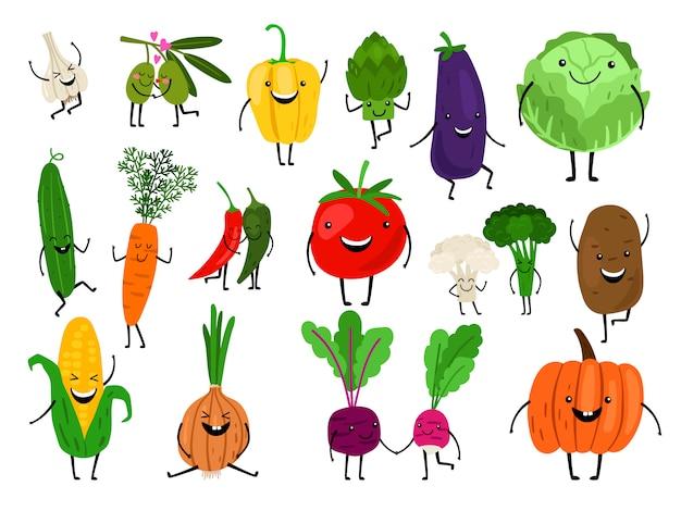 Personajes de dibujos animados de verduras