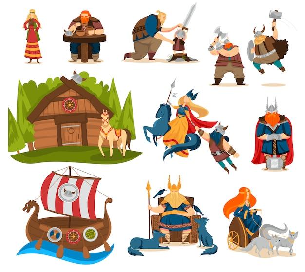 Personajes de dibujos animados vikingos y dioses de la mitología nórdica, ilustración vectorial de personas