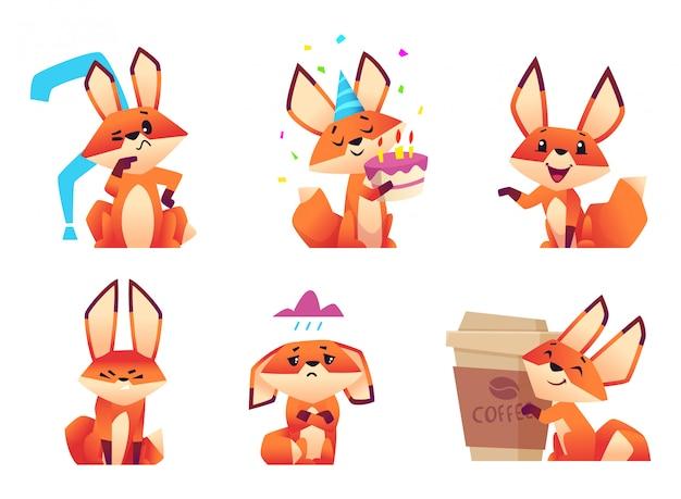 Personajes de dibujos animados de zorro, poses y emociones de animales salvajes esponjosos de color naranja