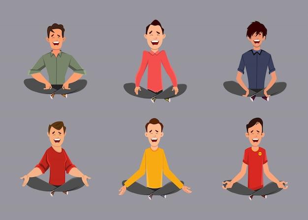 Personajes diferentes hombre relajantes meditación o haciendo yoga.