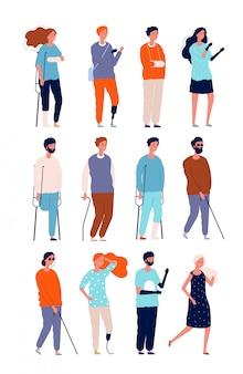 Personajes discapacitados. ilustraciones de personas insalubres en sillas de ruedas y muletas