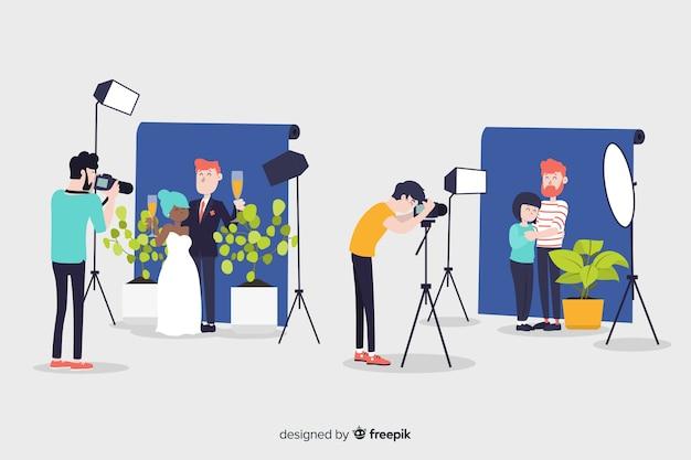 Personajes de diseño plano fotógrafos en sesiones de fotos