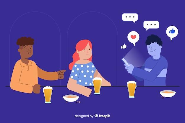 Personajes de diseño plano bajo la influencia de las redes sociales