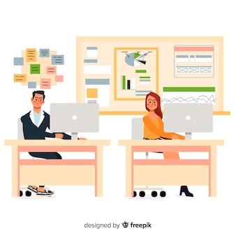 Personajes de diseño plano en el lugar de trabajo de oficina
