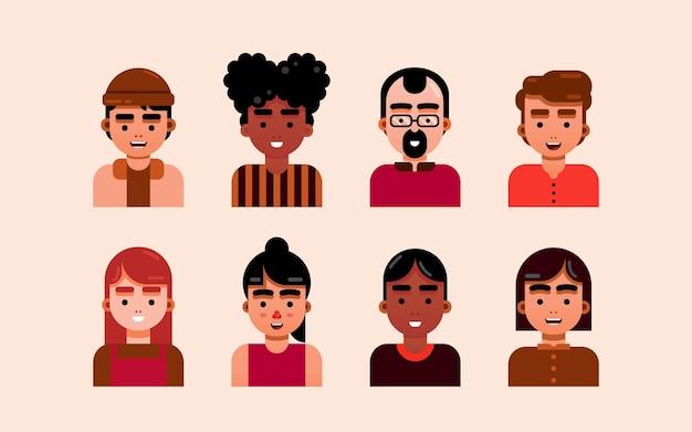 Personajes de diseño plano - retratos de arte plano