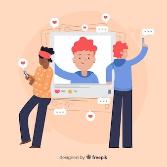 Personajes de diseño plano tomando selfies con agradecimientos