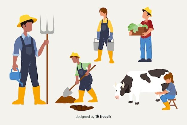Personajes de diseño plano trabajando en campos agrícolas.