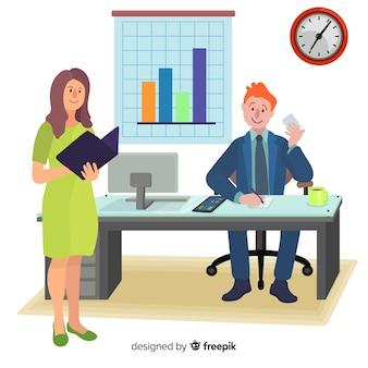 Personajes de diseño plano trabajando en el lugar de trabajo de oficina