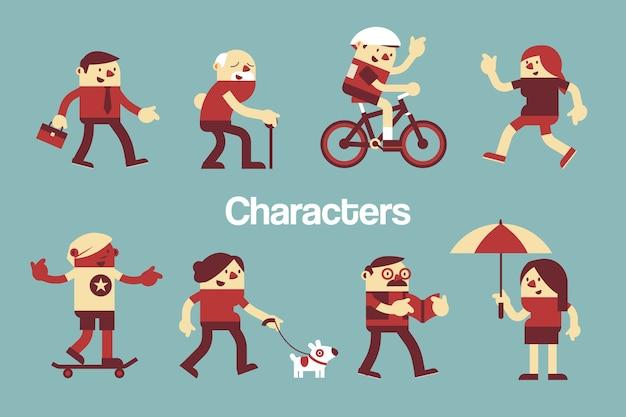 Personajes diseño de varias personas actividades al aire libre.