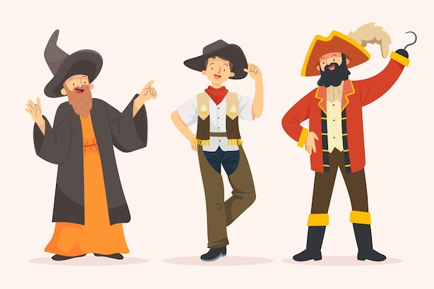 Personajes con disfraces de carnaval.