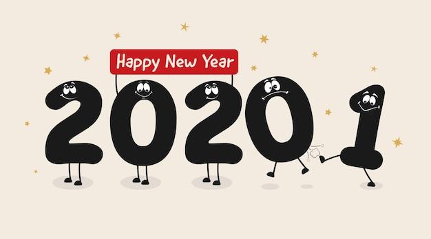 Personajes divertidos de números de año nuevo
