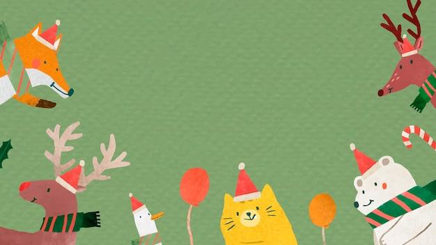 Personajes de doodle de animales de navidad sobre fondo verde