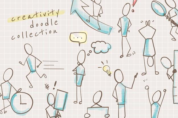 Personajes de doodle de creatividad