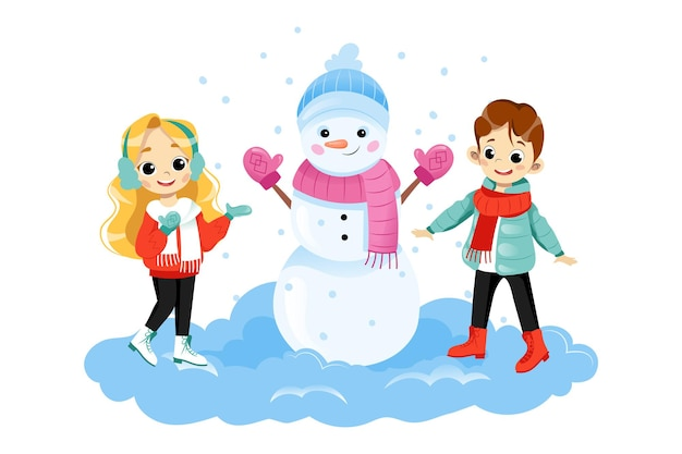 Personajes de dos niños de pie junto al gran muñeco de nieve sonriendo. ilustración de vector sobre fondo blanco en estilo plano de dibujos animados. niño y niña con ropa de invierno pasar tiempo activamente al aire libre en la nieve.