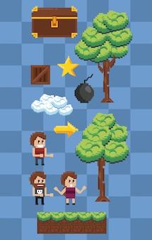 Personajes y elementos pixelados.