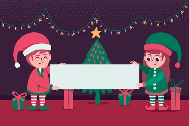 Personajes de elfos de navidad sosteniendo pancartas en blanco