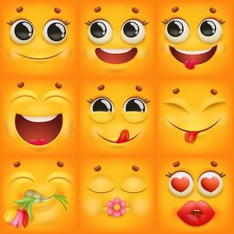 Personajes de emoji de dibujos animados amarillos en diversas emociones.
