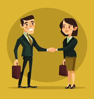 Personajes de empresaria y empresario estrecharme la mano. ilustración de dibujos animados plana