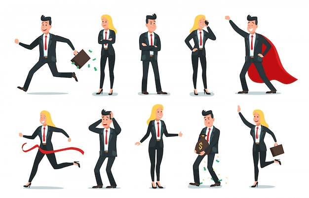Personajes de empresario y empresaria. conjunto de ilustración de trabajador de equipo de oficina, gente de negocios de éxito y trabajadores de empleados