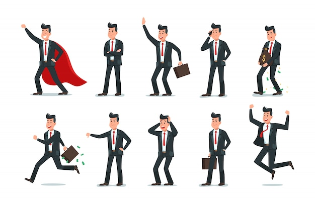 Personajes de empresario hombre de negocios, trabajo informático de oficina y colección de ilustración de vector de personaje de trabajador de negocios