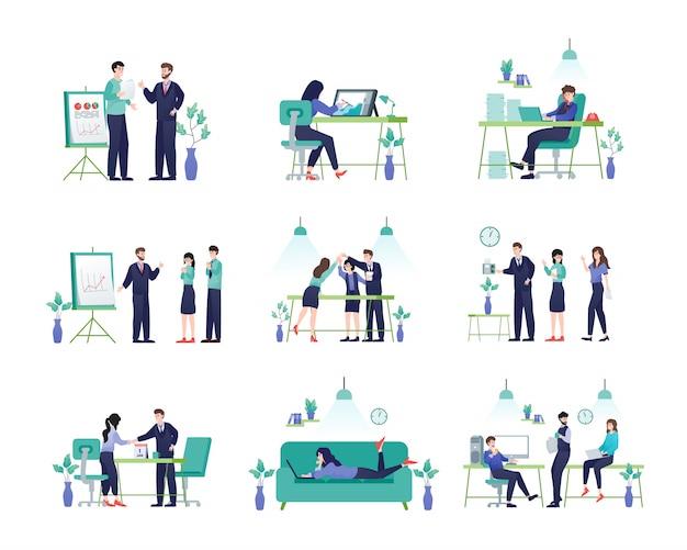 Personajes de empresarios y empresarias en oficina