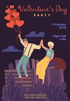 Personajes enamorados, jóvenes de moda vuelan en el cielo, cita romántica de niña y niño: fiesta de san valentín