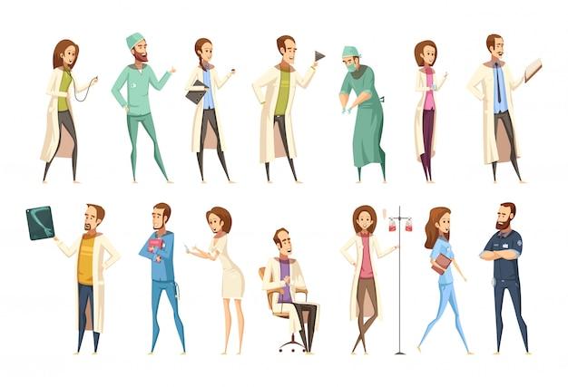 Personajes de enfermería ambientados en estilo retro de dibujos animados con hombres y mujeres en diferentes actividades.