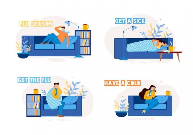 Personajes enfermos con gripe en casa flat set