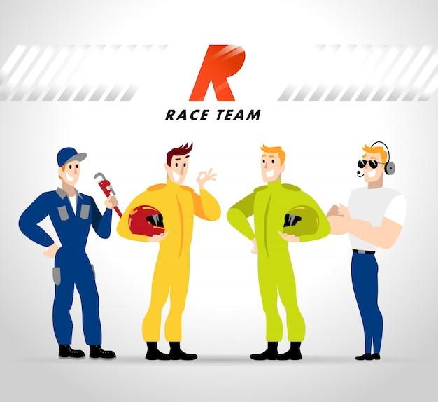 Personajes del equipo de carreras. ilustración.
