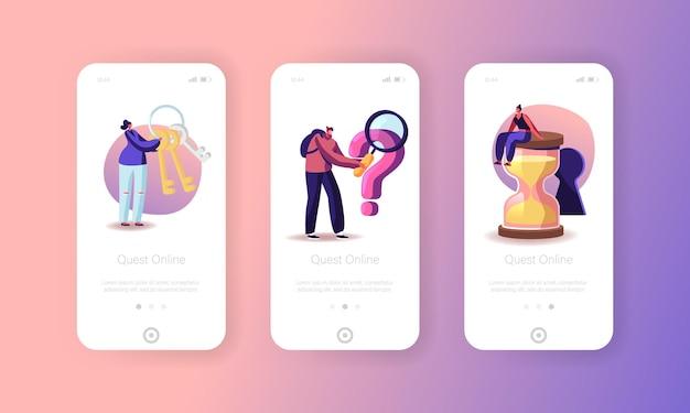 Personajes escape room enigma página de la aplicación móvil plantilla de pantalla incorporada